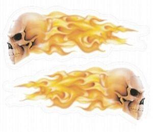 Aufkleber-Set-Flaming-Skulls-Flammen-Totenkopf-Sticker-Helm-US-Car-links-rechts