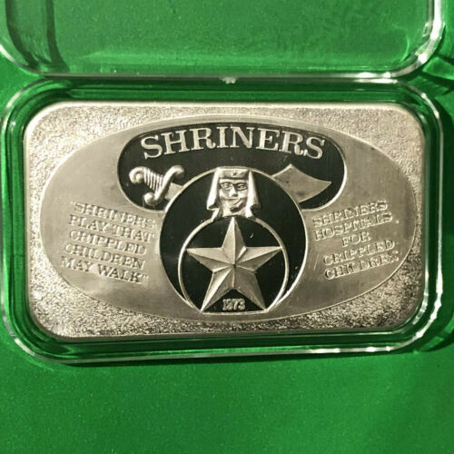 1973 Shriners Society Collectible Bar 1 Troy Oz .999 Fine Silver Ingot Medal 999