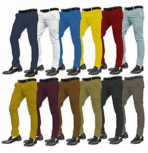 Mens-Designer-Trousers-Chinos-Stretch-Skinny-Slim-Fit-Jeans-All-Waist-Sizes