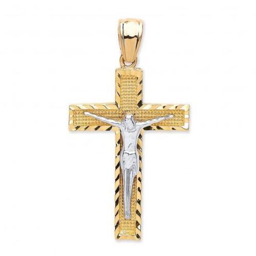 9carat 2 Colour Gold Cross Crucifix Pendant Weight 1.7g Hallmarked 30x20mm