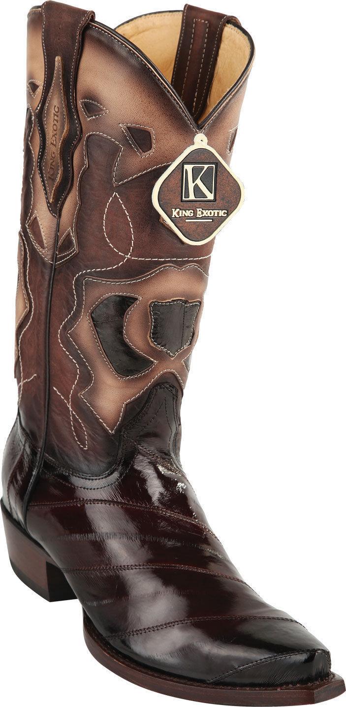 King exóticos Hombres Marrón Western Cowboy SNIP Toe Genuino Anguila Bota 94DRD0816 EE