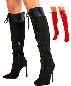 NEW Black Stiletto Suede Knee High