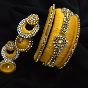 Image Is Loading Indian Yellow Silk Thread Stone Handmade Earrings Bangles
