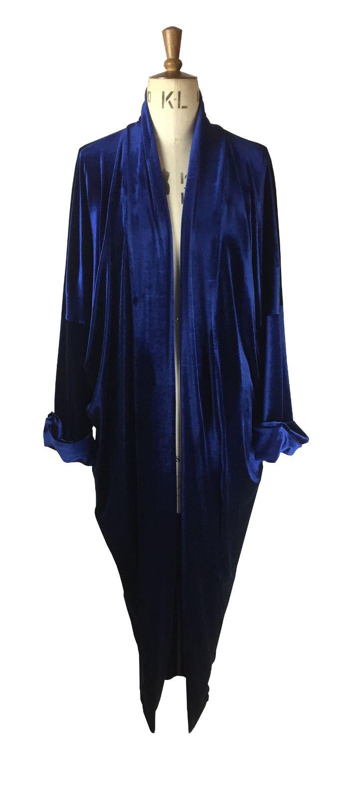 Baylis Knight Blau Velvet Duster Coat OverGröße Boho Retro Festival opera
