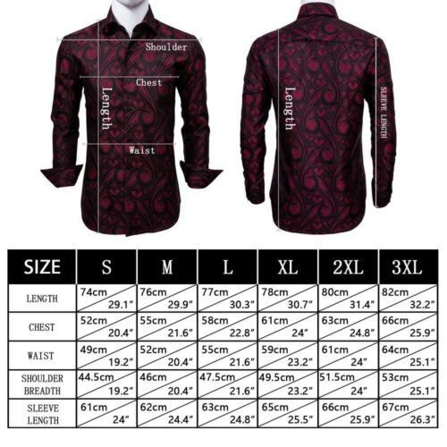 HOT Men/'s Red Shirt Long Sleeve Casual Button-Down Shirts Paisley Dress Shirt