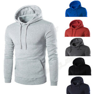 Men Hoodie Long Sleeve Blouse Hooded Sweatshirt Top Jacket Coat Outwear Pullover