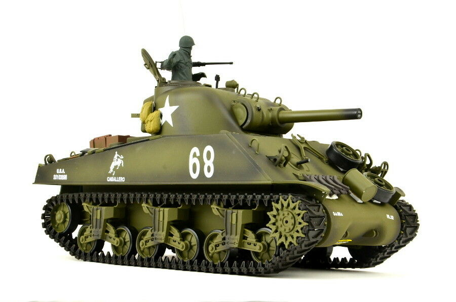 RC Panzer US Sherman M4A3 PRO Serie Metallketten Sound Rauch 6mm Softair Kanone