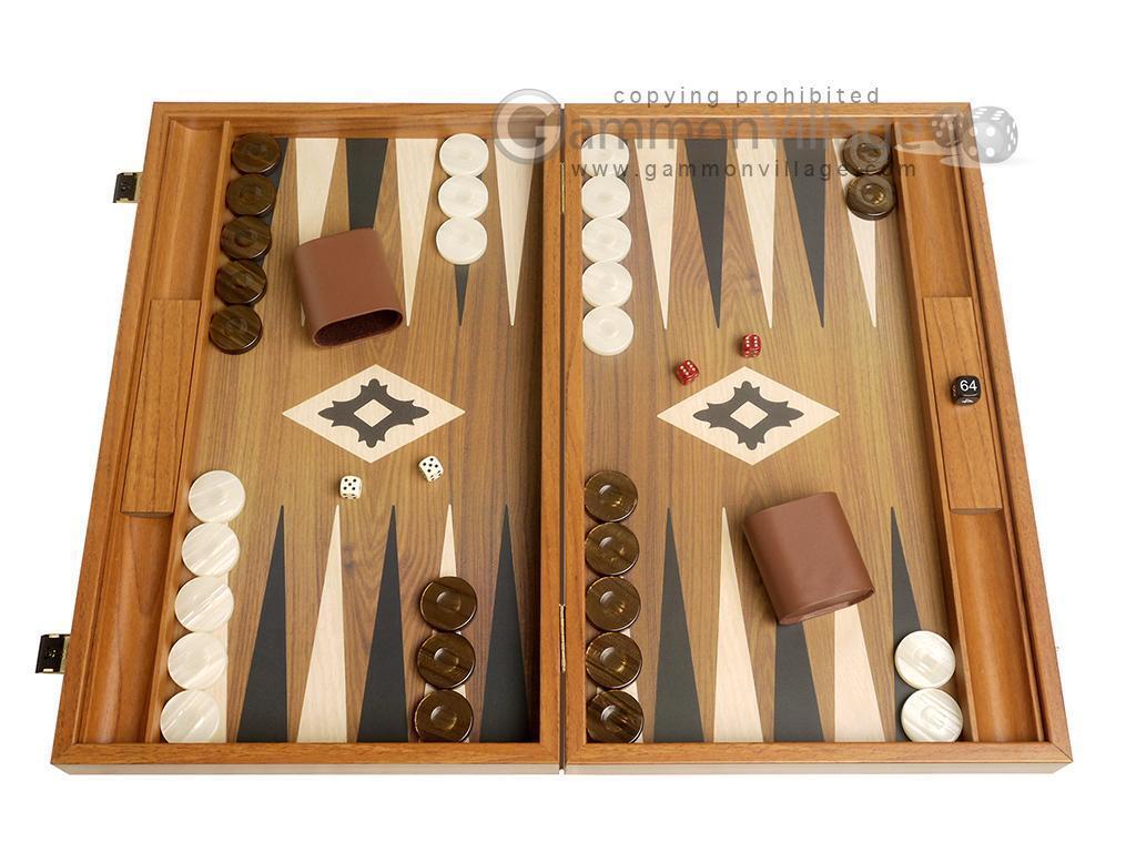Conjunto de 19 Pulgadas De Madera Backgammon-tablero de nogal con campo impreso y racks de lado