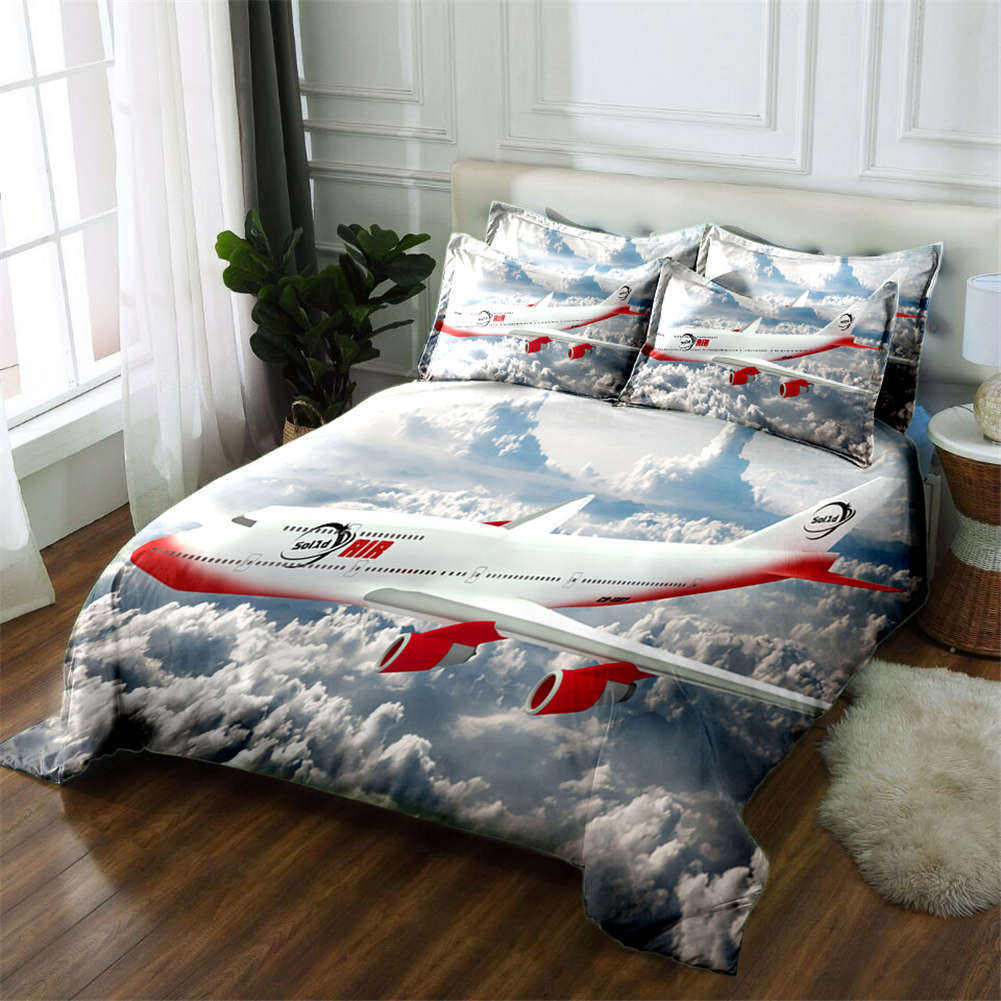 Flying Aircraft 3D Druckening Duvet Quilt Will Startseites Pillow Case Bettding Sets