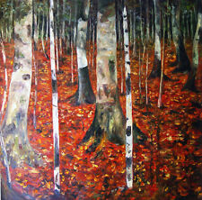 "Gustav Klimt Replica  Oil Painting - Birch-forest - Size: 36""x36"""