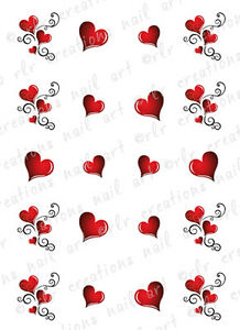 Image Is Loading 20 Nail Decals Valentine Heart Swirls Water Slide