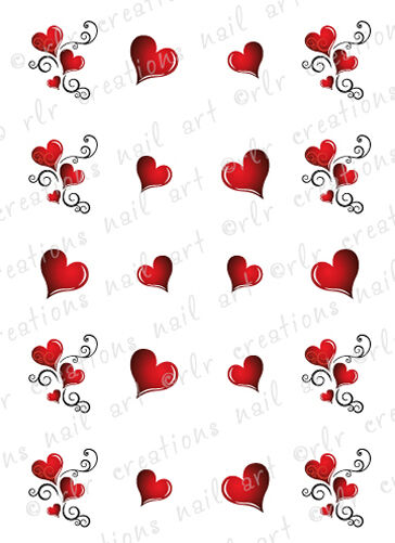 20 Nail Decals VALENTINE HEART SWIRLS Water Slide Nail Art Decals Asst Designs