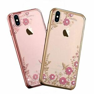 Soft-Gel-Case-For-iPhone-X-8-7-6-5s-5-Flower-Bling-Glitter-Diamond-Sparkly-Cover