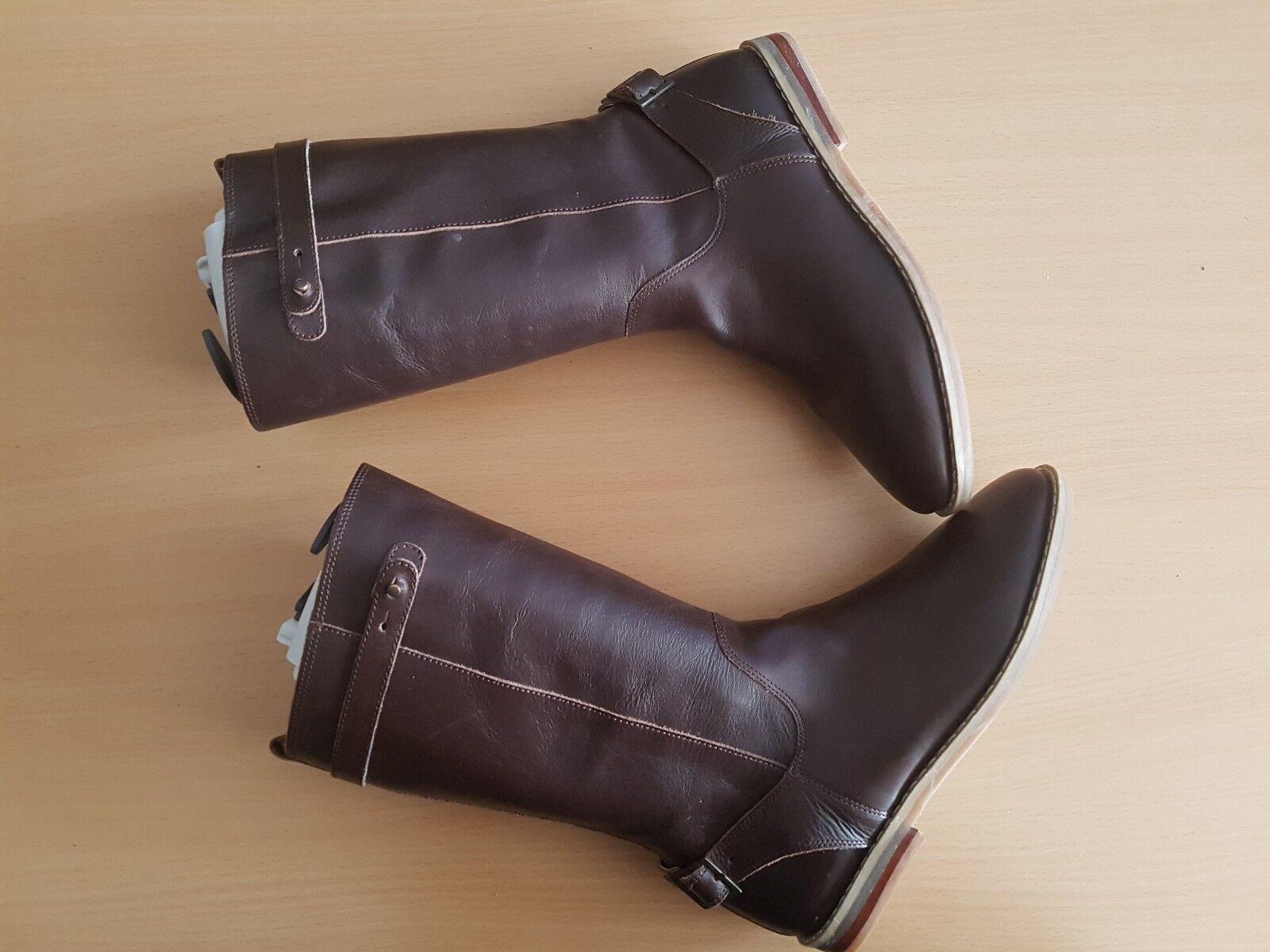 Vertbaudet Damen Schuhe Stiefel Stiefeletten Stiefel Leder braun Gr. 38 TOP