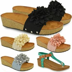 Details About New Ladies Womens Wedge Comfort Sandals Cushioned Flip Flops Footbed Shoes Size