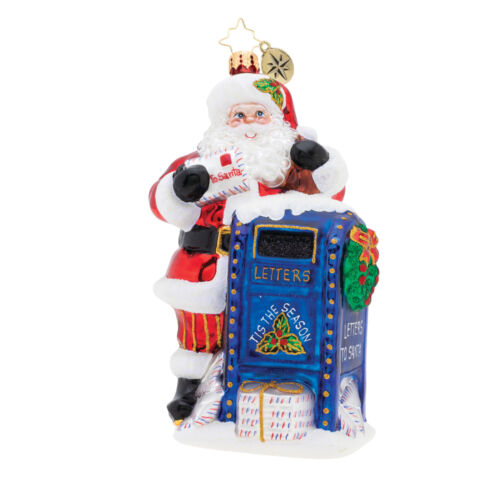 Dear Santa Holiday Blue 6 x 4 Blown Glass Christmas Hanging Figurine Ornament