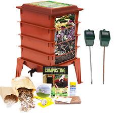Worm Factory 360 Farm Compost / Vermicompost Bin (Red) + Moisture & pH Sensors