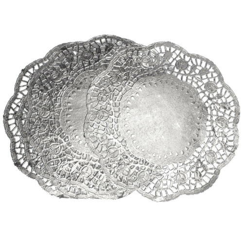 8-1//2-Inch 6-Piece Round Lace Silver Doilies