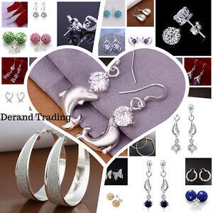 UK-925-Sterling-Silver-Plated-Crystal-Pearl-Hoop-Drop-Ear-Stud-Earrings-Gift-Bag