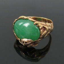 Antique Art Nouveau Natural Jadeite Jade & 14K Hand Made Gold Dragon Ring -7.75