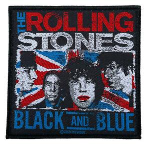 SP3037-The-Rolling-Stones-Black-And-Blue-Aufnaeher-Patch-Gewebt-amp-Lizenziert