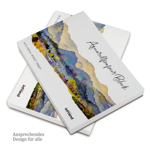 Papier Aquarelle DIN a5 300 g 40 feuilles Incl Réservoir d/'eau pinceau et crayon