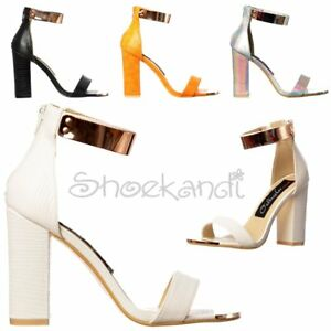 cdc232cd710 WOMENS LOW MID BLOCK HEEL STRAPPY PEEP TOE CUFF HIGH BACK PARTY ...