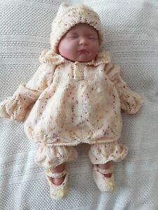 """Hand Knitted Angel Top Ensemble 4 Pièces Pour S'adapter 20 - 22"""" Bébé Reborn/ou 0 - 3 Baby-afficher Le Titre D'origine Non Repassant"""