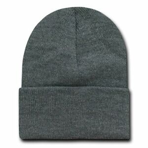 b47cb39f47e Charcoal Grey 12 Inch Cuffed Long Knit Beanie Ski Cap Caps Hat Hats ...