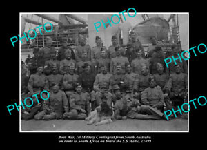 OLD-POSTCARD-SIZE-PHOTO-SOUTH-AUSTRALIAN-MILITARY-BOER-WAR-TROOPS-SS-MEDIC-1899