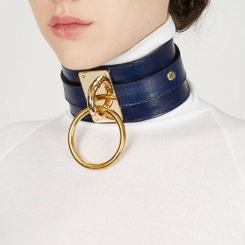 LX/_ MEN WOMEN PUNK O RING CHARM FAUX LEATHER COLLAR CHOKER NECKLACE JEWELRY FA