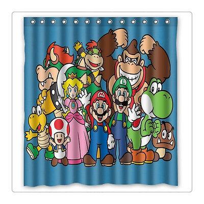 Custom Fashion Anime Super Mario Bros Shower Curtain Bathroom Waterproof  Fabric
