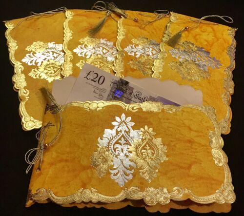 Royal Vintage YELLOW Wedding Invites Money Gift Envelopes Salami Shagun Wallets