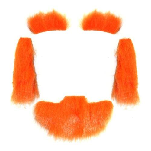 Pack of 4 St Patrick/'s Day Ginger Leprechaun Beard Side Burns /& Eyebrows