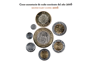 KIT 8 COIN CURRENT OF THE YEAR 2016,CIRCULATED MÉXICO