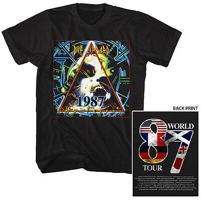 Def Leppard Mens T-SHIRT Black OFFICIAL SIZES SM 5XL FADED 87 HYSTERIA TOUR