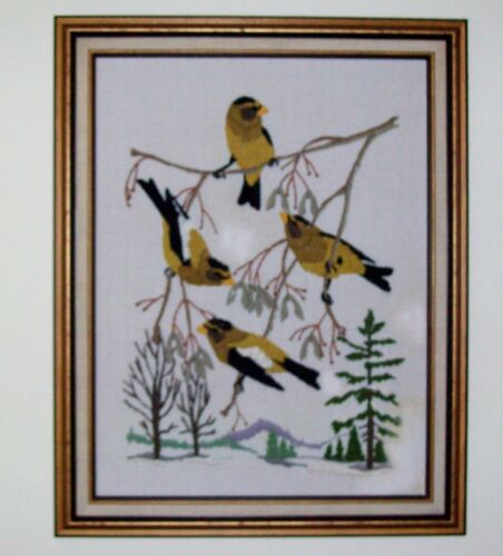 Handcrafted Large Finished Framed Crewel Embroidery 'Evening Grosbeaks'