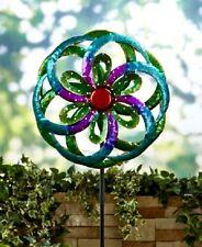 Jumbo Metallic Blue Floral Flower Garden Stake Outdoor Yard Art Home Decor NEW
