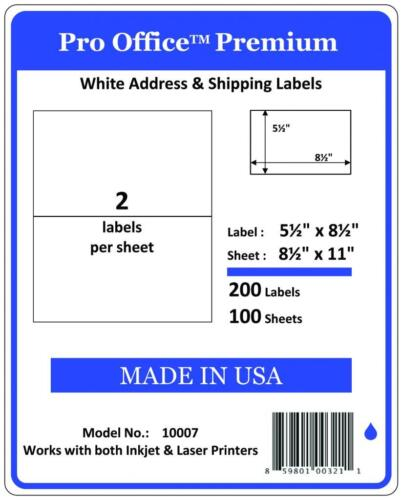 PO07 800 Premium Half Sheet Shipping Labels SelfAdhesive 8.5 X 5.5 PRO OFFICE