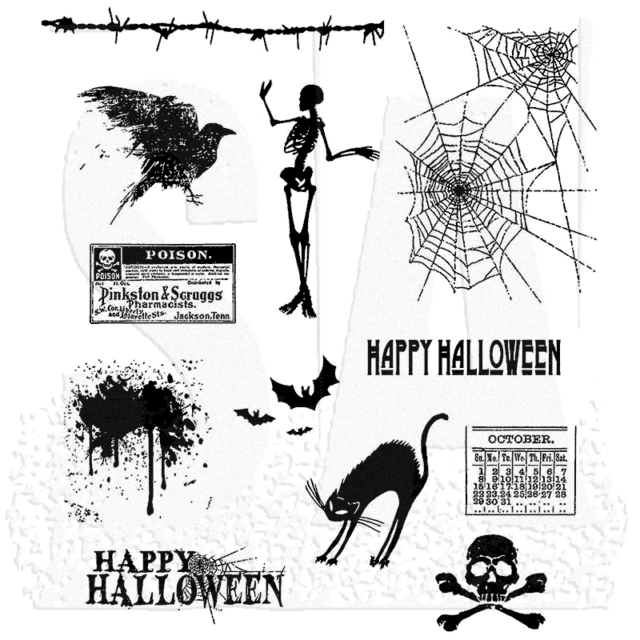 "Tim Holtz Cling Stamps 7""X8.5"" - Mini Halloween"