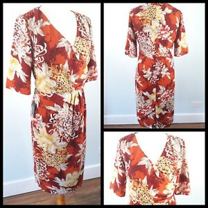Alexon-Size-10-BNWT-Red-Orange-Yellow-Crossover-Ruched-Fitted-Dress-Floral