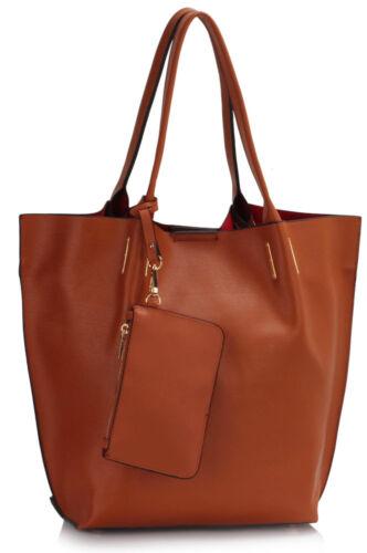 Ladies Shoulder Bag With Removable Pouch Women/'s Designer Faux Leather Handbags