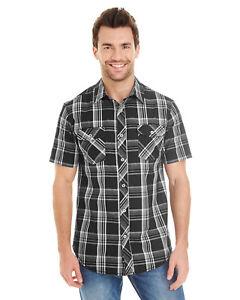 PEACHES PICK PLAID Burnside Mens S-3XL Short Sleeve Button Shirt with Pockets