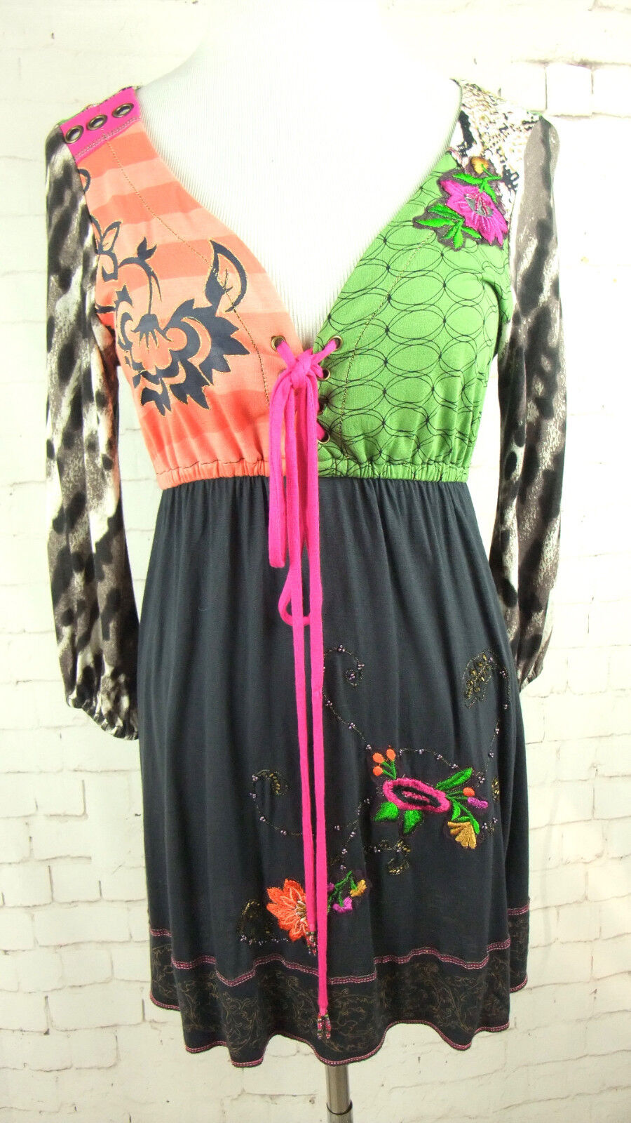 KRISTA LEE Multi Farbe Block Floral Embroiderot 3 4 Sleeve Dress Sz XS
