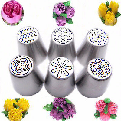 6 Pcs/set Russian Tulip Flower Cake Icing Piping Nozzles Decorating Tips Baking