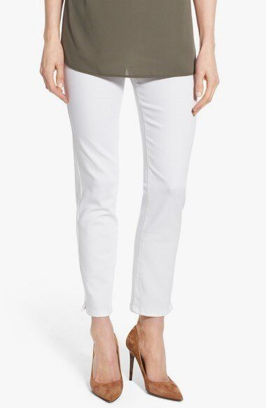 NYDJ 'Alina' Pull-On Stretch Ankle Skinny Jeans Endless White MAMY1243 Size 16