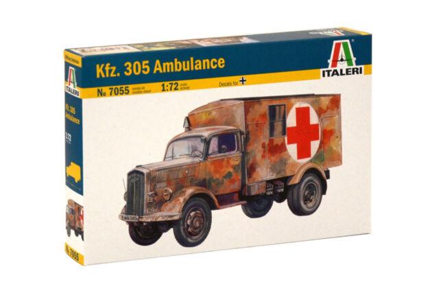 Italeri 1:72 - 7055, Sd.Kfz.305 Rettungswagen, Modellbausatz unbemalt,Plastikmod