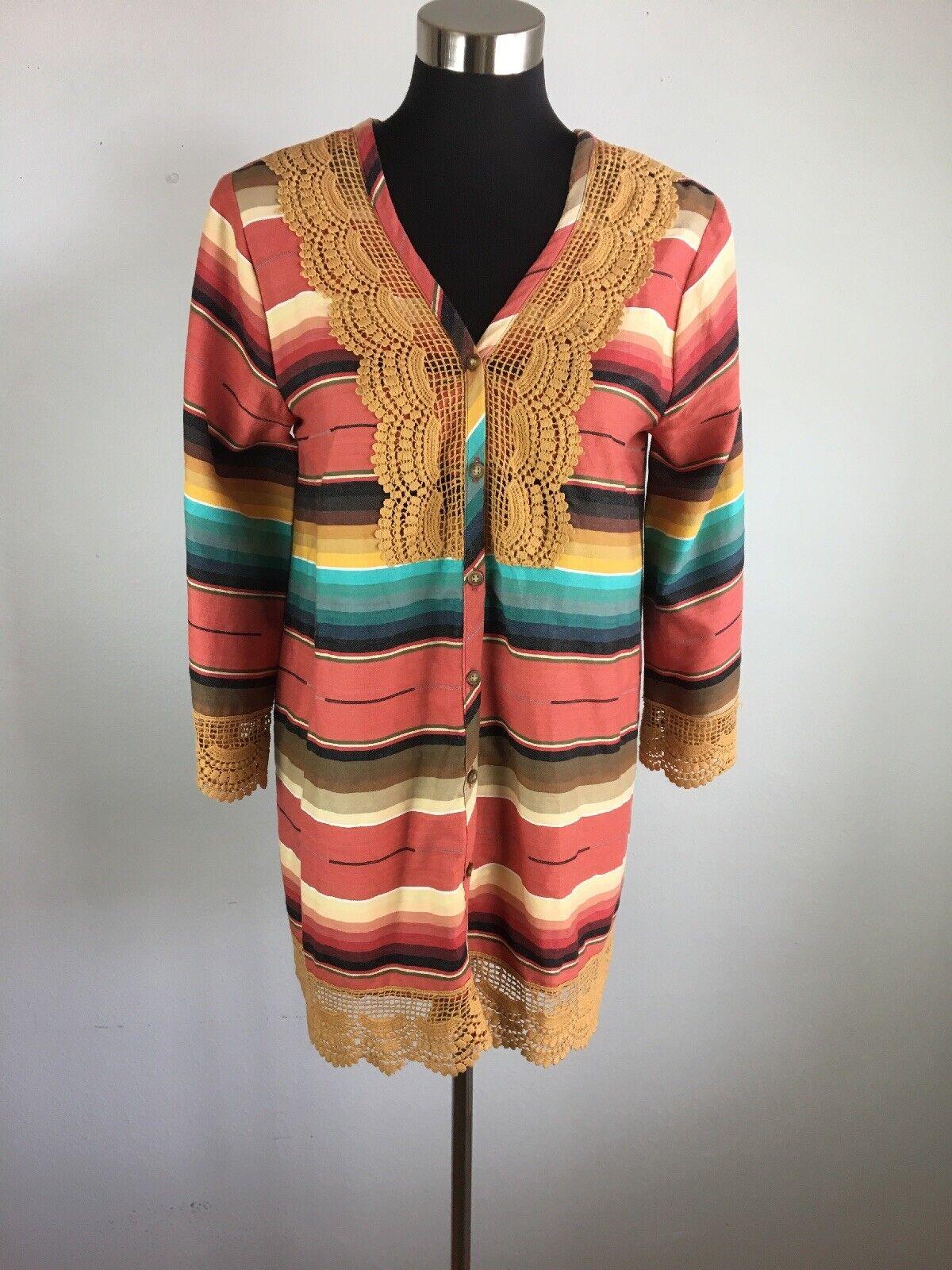 Tasha Polizzi damen Tunic Top M Medium MultiFarbe Serape Blanket Button Lace