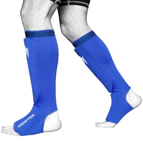MEISTER ELASTIC CLOTH SHIN /& INSTEP GUARDS BL Muay Thai MMA Taekwondo Leg Pads