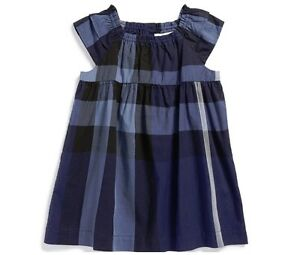 78c64df48e4 Details about NEW $195 Burberry Girls Check Cotton Dress Navy Blue, Sz 12m  /80cm with GIFT Bag